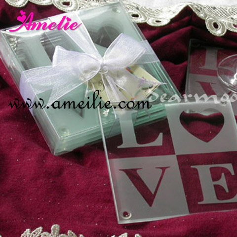 wholesale letters glass coasters wedding gifts love glass coaster wedding favors 2pcssetdhl