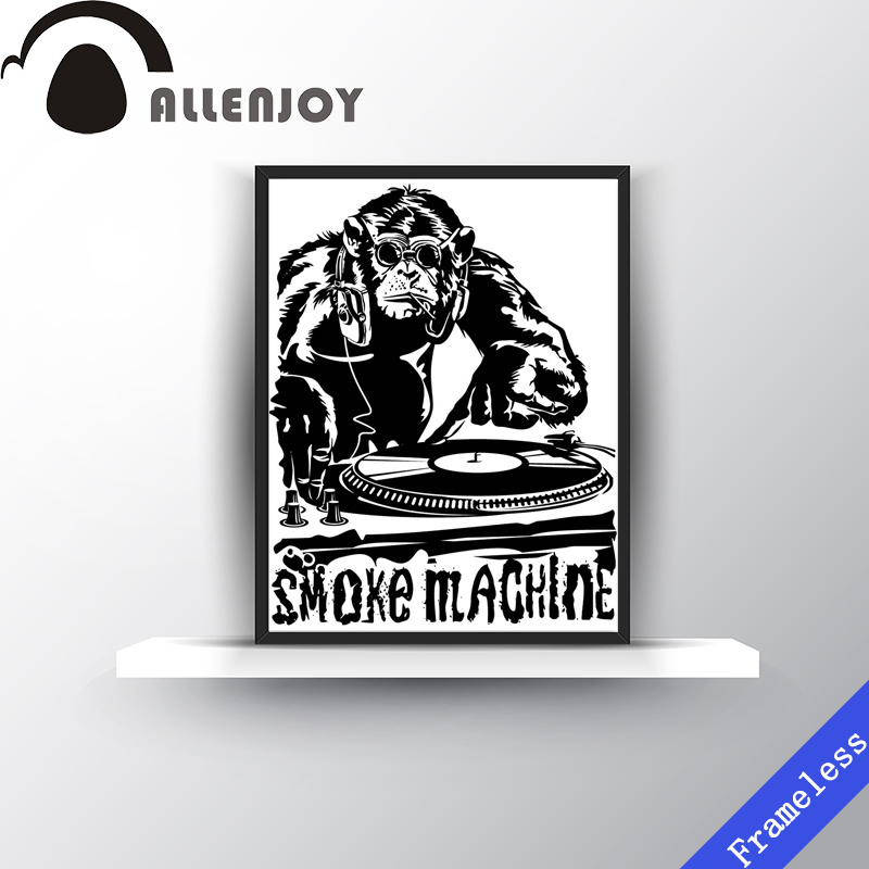 Hot Simple Modern Gorilla animal DJ Cool Black White Print Poster Wall Picture Canvas oil Painting bar Club Home Decor Frameless(China (Mainland))