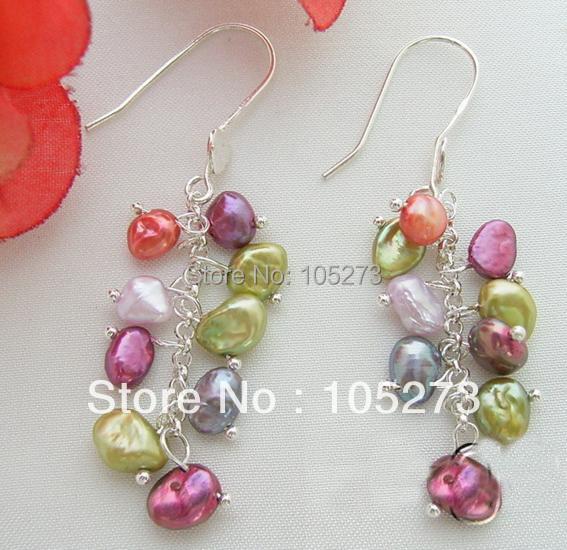 Здесь можно купить  New Arriver Chirstmas Jewellery ! Stunning Multicolor Natural Reborn Keshi Pearls Earrings S925 Silver Hook New Free Shipping  Ювелирные изделия и часы