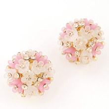 Fine Jewelry Pendientes Femme Resin Flower Stud Earrings for Women CZ Diamond Brincos Boucle d'oreille Bijoux Summer Style 2015(China (Mainland))