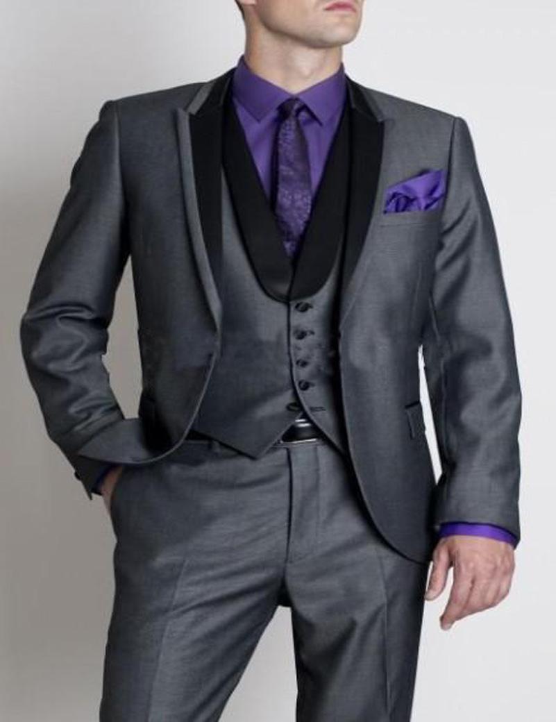 2016 Custom Made prom Suit Groom Tuxedos Mens Wedding Suits Groomsmen Suit Jacket+Pants+Tie+Vest formal Suit