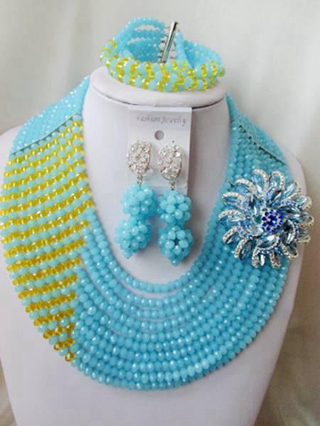 Trendy nigerian wedding african beads jewelry set Light Teal Blue crystal beads bride jewelry set GG-585<br><br>Aliexpress