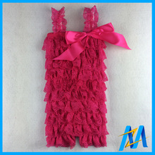 2015 Baby Lace Rompers Infant Lace Romper with Straps Ribbon Bow Kids Jumpsuit 28 colors Baby Girls Lace Ruffled Petti Romper(China (Mainland))