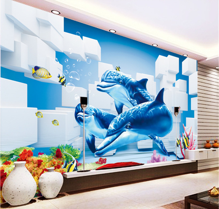 Ocean dolphins wallpaper 3d murals 3d mural photo for 3d wallpaper for home decoration