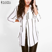Buy ZANZEA Women 2017 Autumn Sexy Casual Loose Long Blouse Shirts Lapel Long Sleeve Buttons Pockets Pinstripe Asymmetric Blusas Tops for $8.55 in AliExpress store