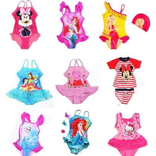 22 style 2-12y girls swim Kids Baby Cute Swimsuit Dot Swimwear Bathers monokine Children bathing suits Tankini Swim Cute(China (Mainland))