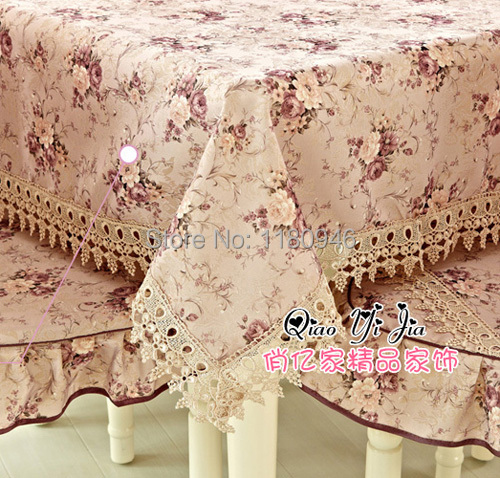 Multidimension cotton table cloth purple flower pattern lace tablecover  home decoration free shipping(China (Mainland))