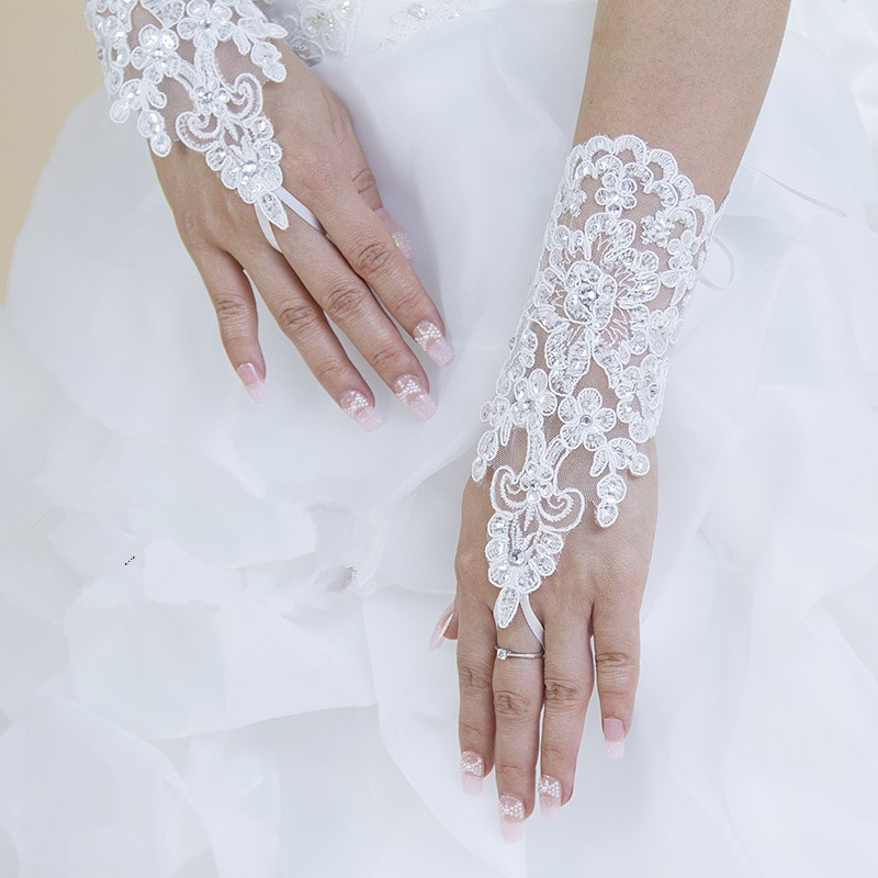 Short fashionable Rhinestone Write Ivory Lace Fingerless Bridal Wedding Gloves Accessories - Weddings & Events Collection store