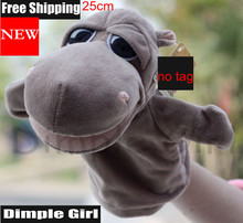 cute animal shaped Hippo Hand Puppets For Baby(China (Mainland))