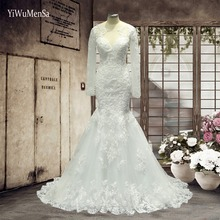 Buy YiWuMenSa Wedding dresses 2017 Appliques Lace Long Sleeves Wedding dress Mermaid sexy see bridal gowns custom made for $98.02 in AliExpress store