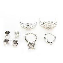 4pcs/set Crystal Plastic Sliver Crown Headband Headwear 1 Necklace 2 Bracelets Doll Toys Girls(China (Mainland))
