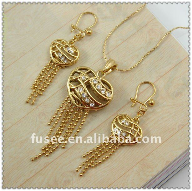 Fashion Muslim Golden Heart Shape Jewelry Set F1120333 .20