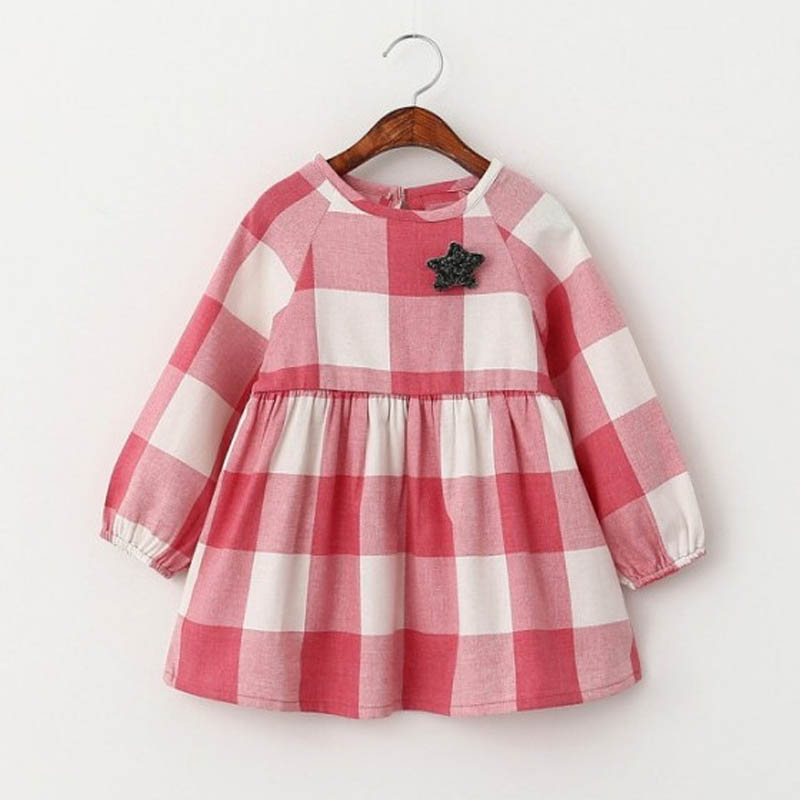 Spring Girl Baby Clothes Dress 2016 Fashion Plaid Baby Girl Clothes Dresses Spring Brand Star Baby Clothes Dresses For Girl Tutu(China (Mainland))