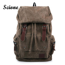 2017 New Casual Men Canvas Travel Backpack Men's Vintage Student School Bag Big Laptop Rucksack Canvas Drawstring Backpack MX16(China (Mainland))