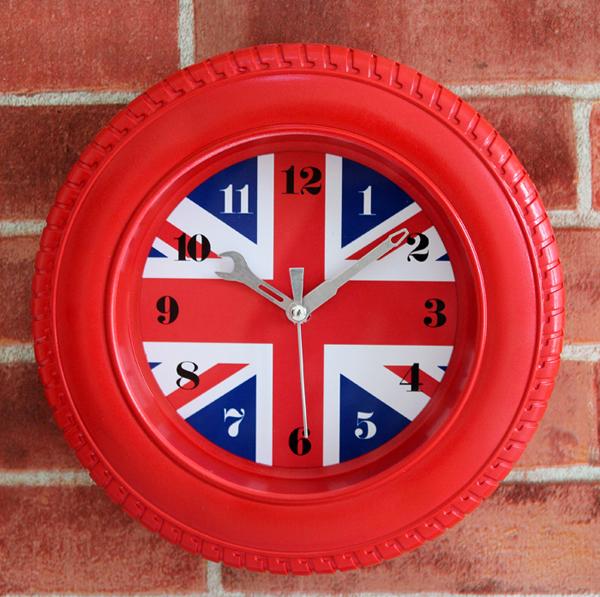 2016 English style British flag tire 3D wall clock,fashion creative wall watch modern design,retro Continental desktop clock(China (Mainland))