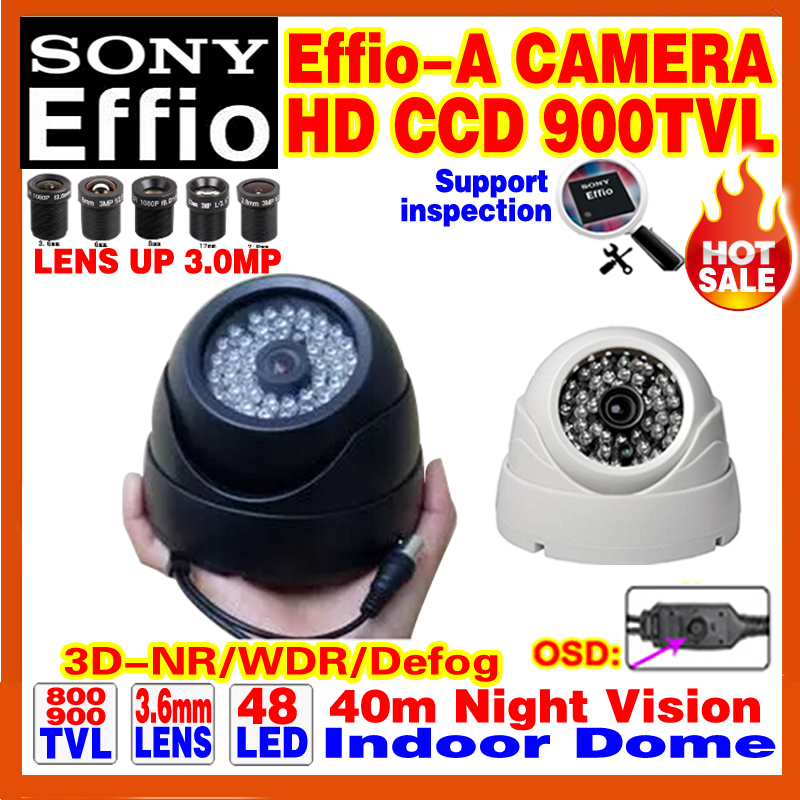 "High Quality 1/3""Sony Effio CCD 800/900TV Analog 960H Color HD Camera Cctv Surveillance Products Indoor Dome Infrared 48LEDS Osd(China (Mainland))"