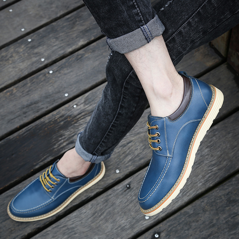 Men's Shoes New Spring Summer Casual Shoes Men Genuine Leather Lace Shoes Fashion Men's Leather Shoes