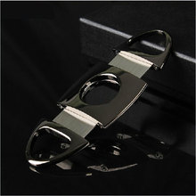 Stainless Steel Double Blade Cigar Cutter Scissors Plastic Handle Portable Tool #54074(China (Mainland))