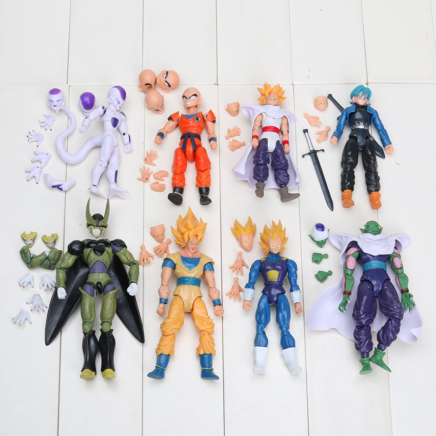 8pcs/set Freeza Piccolo Vegeta Trunks Son Gohan Kuririn PVC Action Figures Dragon Ball Z Face Changed Collection Model Toys(China (Mainland))