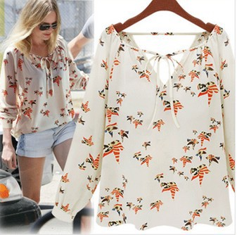 New Fashion Ladies' elegant floral print blouse V-neck casual vintage shirt slim high quality brand designer tops(China (Mainland))