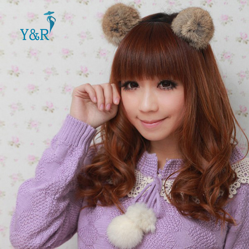 Real hair bulb Rabbit Fur Plush Ball Headband Women Girls Hair Band Pom Poms Hair Accessories Sweet Headwear(China (Mainland))