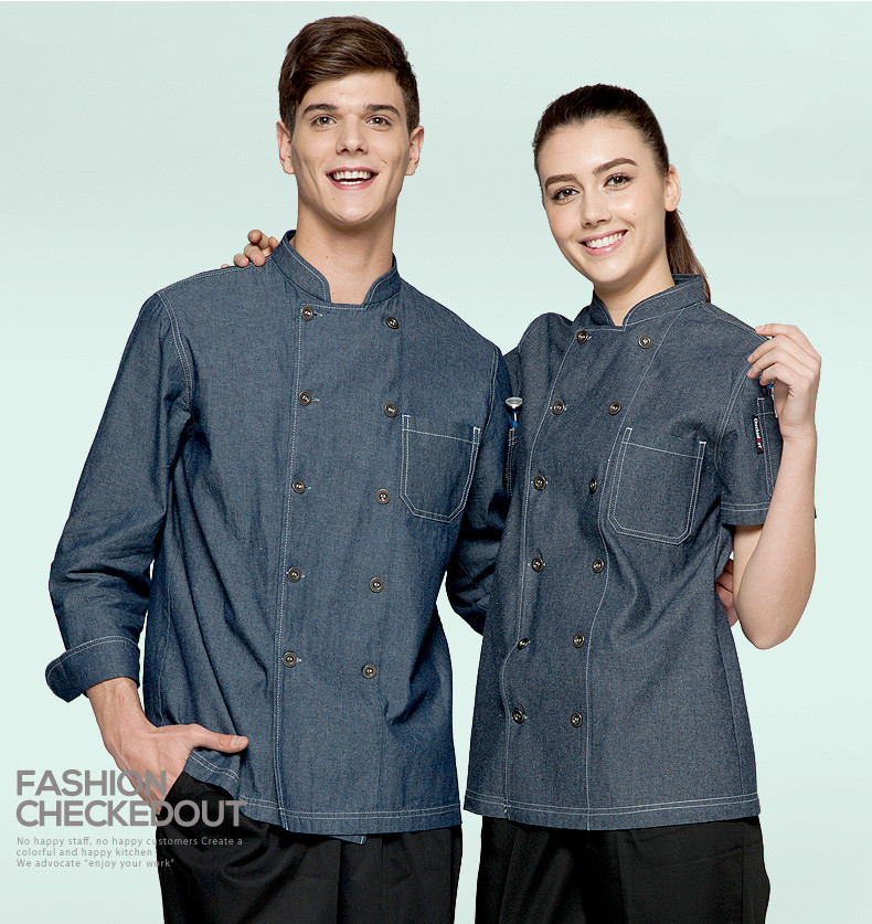 (5 get 10% off, 10 get apron for free)Classy man/woman chef uniform denim gray short sleeve restaurant hotel kitchen coverall(China (Mainland))