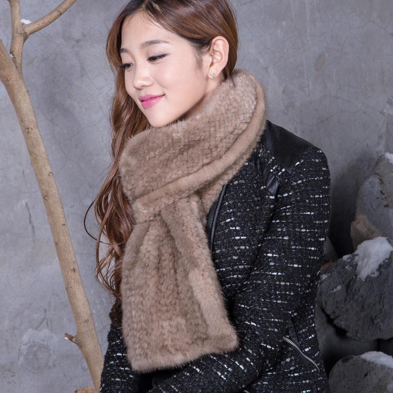 China Post Free Shipping Top Natural Knit Mink Fur Scarf Black, Mink Fur Shawl Chinese Mink Fur Scarf(China (Mainland))