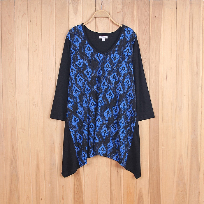 Bliss 2xl 7xl plus size woman 3 4 sleeve print knitwear for 3 4 sleeve t shirts plus size