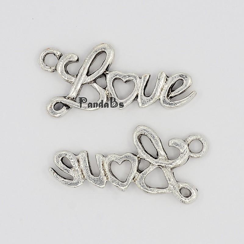 Valentine Day Gift Ideas for Boyfriend Letter Love Alloy Charms, Lead Free and Nickel Free, Antique Silver, 13x25x2mm, Hole: 2mm(China (Mainland))