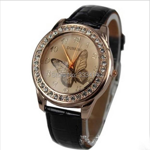 W1 2014 New Fashion Cute Butterfly Rhinestone Casual 10 Colors Leather Rhinestone Quartz Women Dress Watches(China (Mainland))