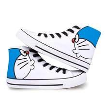 Plus Size 35-44 Paar Canvas Schoenen Vrouwen Schoeisel Leuke Doraemon Vrouwen Sneakers Handgeschilderde Graffiti Student Casual schoenen(China)