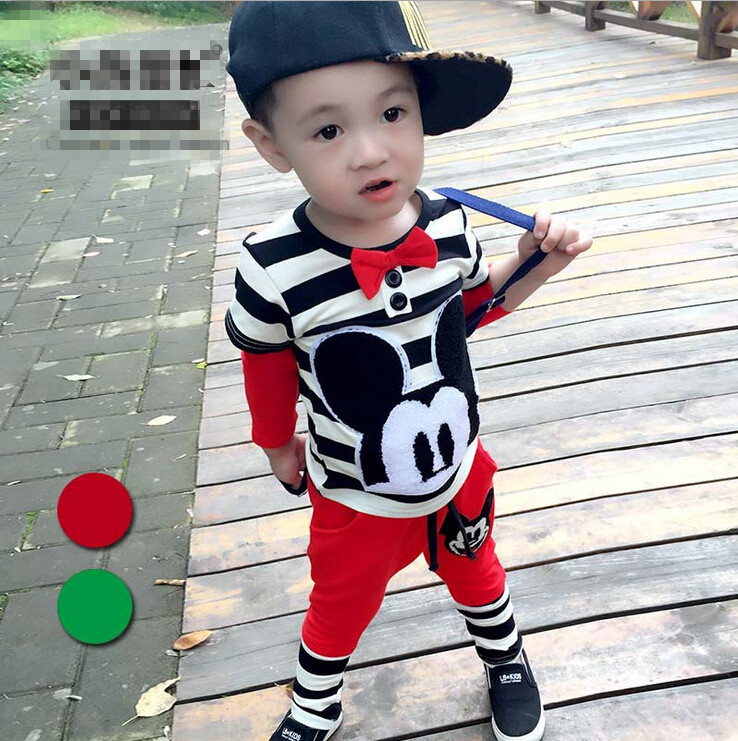 wholesale 2015 new arrival boy suit set 2pics cartoon mickey coat+pants fashion good quality children clothing free shipping X73(China (Mainland))