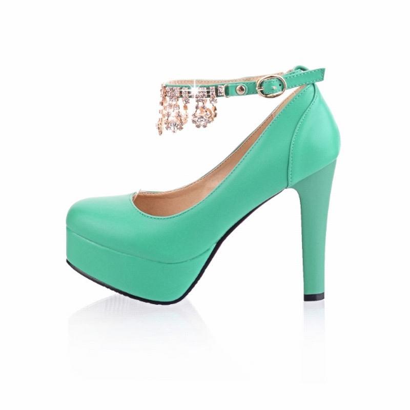 Big Size 32-42 Summer Pumps Platform Shoes Woman 2016 Sexy Shining Rhinestone Charns Women Pumps Spike High Heels Women Shoes