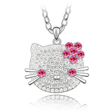 New fashion Austrian crystal pendant Necklace &18 Gold Plated Luxury jewelry–Hello Kitty
