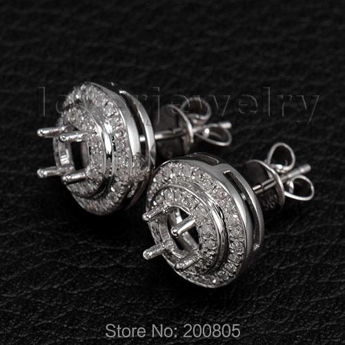 Round 5mm 14Kt White Gold 0.48Ct Diamond Semi-Mount Earrings Vintage<br><br>Aliexpress