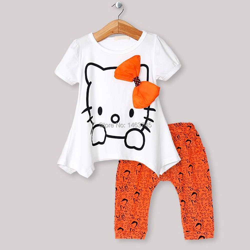 fashion cartoon girl summer clothes suitable for 2 to 6 years old girl T-shirt + shorts girl's suit(China (Mainland))