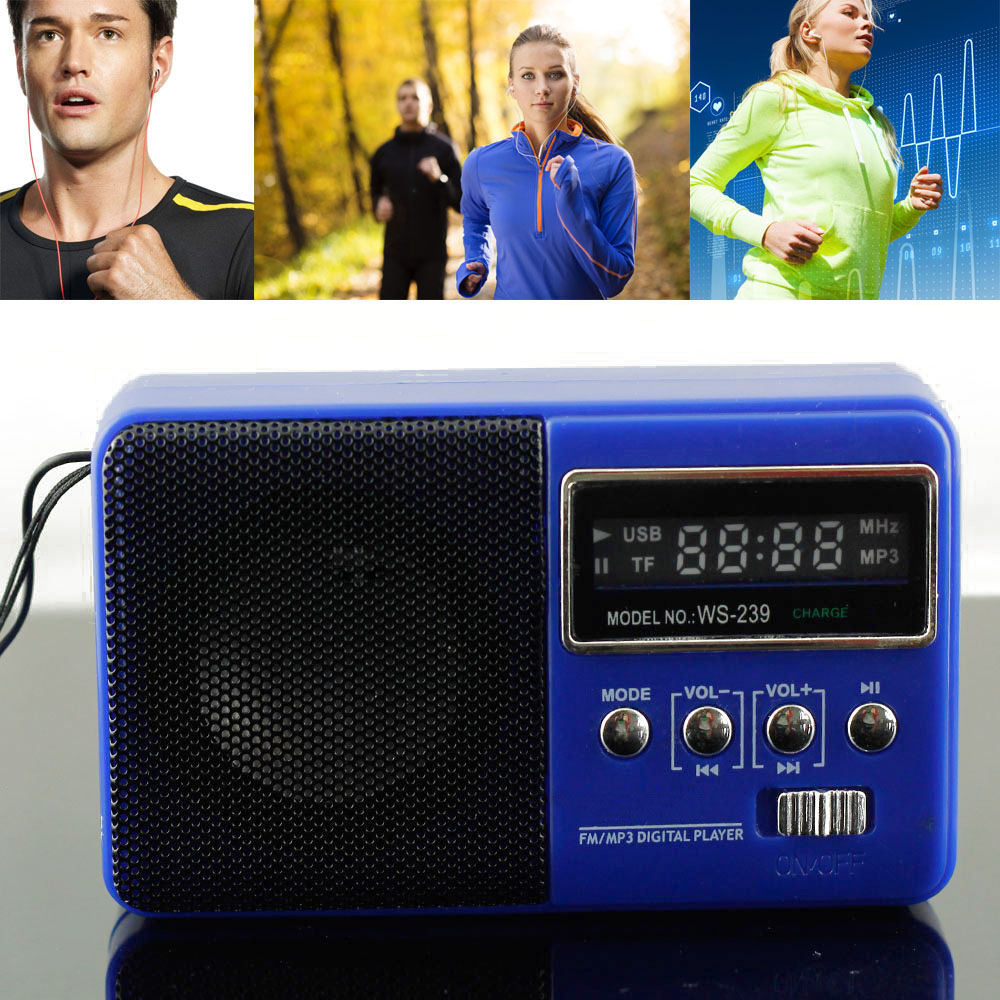 Portable Stereo Speaker Clip Amplifier FM Radio USB Disk Micro SD TF Card MP3 Player Blue