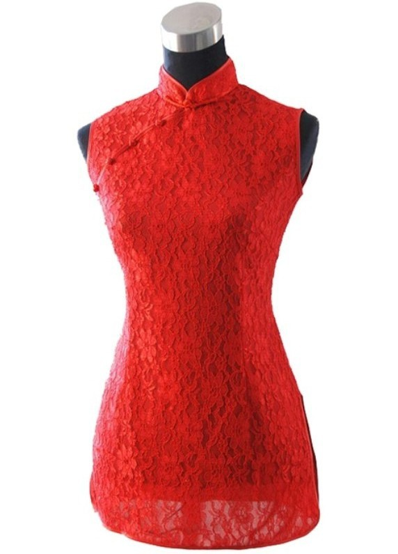 Red Female Sexy Lace Hollow Out Shirt Tops Slim Floral Crochet Blouse Hot Sale Fashion Button Tang Suit Size S M L XL XXL JY034(China (Mainland))