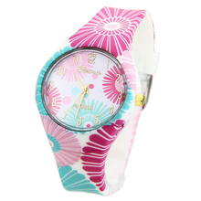 Buy NEW Silicone Geneva Flowers Watch Platinum Geneva Watch Analog Printed Rubber Band Vintage Fashion Women wristwatch for $4.48 in AliExpress store
