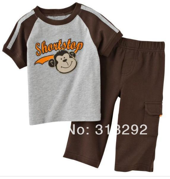 JTS63, Monkey, 6sets/lot, Baby/Children clothing set, 100% Cotton short sleeve T shirt + pant sets for 1-5 year.<br><br>Aliexpress