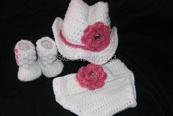 Free Shipping Cute Girl Handmade Crochet baby Flower hat,shorts and booties Photo Props baby hat white hat flower caps