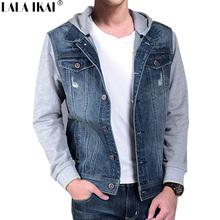 Sleeve Knitted Jackets Men Hooded Casual Patchwork Coats Cotton Denim Jacket Sleeve Sweatshirt Jeans Jacket Brand SMT0005-6(China (Mainland))