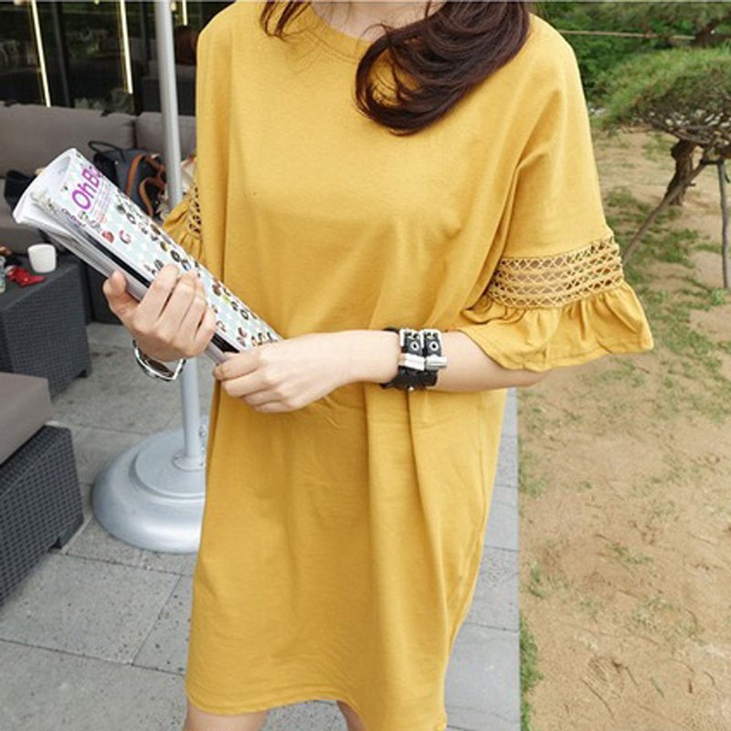 2016 Summer Loose Yellow Dress Women Hollow Out Butterfly Sleeve Dresses Large Size Causal Dress Lady Apparel ND672(China (Mainland))