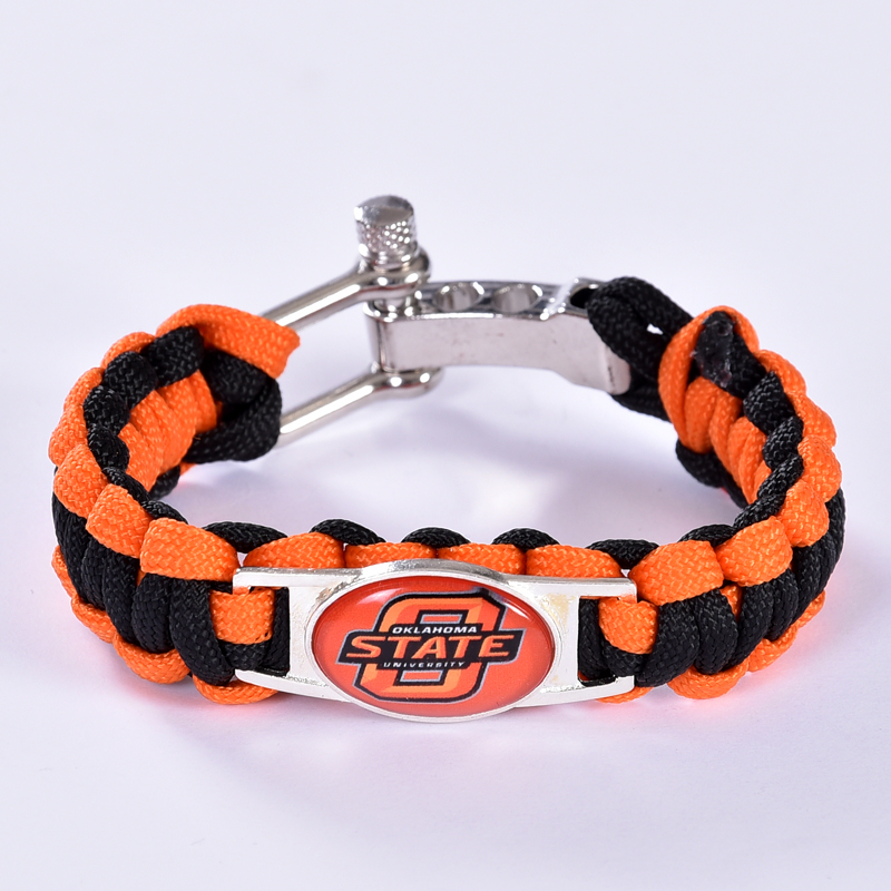 Oklahoma State Cowboys Custom Paracord Bracelet NCAA College Football Bracelet Survival Bracelet,Drop Shipping! 6Pcs/lot!(China (Mainland))