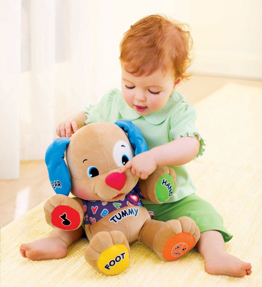 Brand new Fisher Dog Laugh & Learn Love to Play Puppy Baby Musical Plush Electronic Toys Dog Singing English Songs toys gift(China (Mainland))