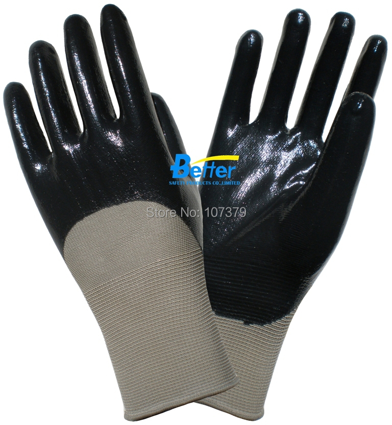 Gardening Work Glove Oil Proof Working Glove 13 Guage Nylon Glove With Nitrile Palm Coated Work Gloves<br><br>Aliexpress