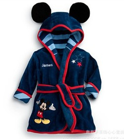 New Baby Bathrobe Children's Robes,Mickey Cartoon Baby Clothes Home Furnishing Boys and Girls High-Quality Flannel Hooded Robe(China (Mainland))