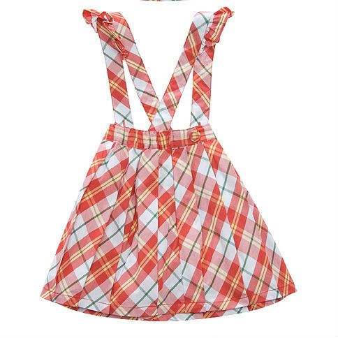 ok Freeshipping summer red yellow plaid Children Girl Kids baby lady  princess cotton skirt with shoulder-straps WMBQ111019