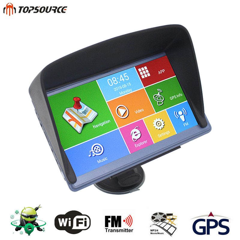 TOPSOURCE 7'' car gps navigation android wifi 8GB DDR800MHZ GPS Sunshade Russia/Europe /Navitel Map Vehicle gps Map Free Upgrade(China (Mainland))