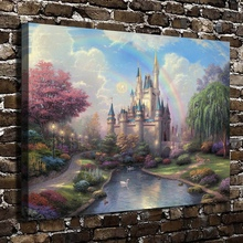 H1232 Thomas Kinkade Cinderella Castle Scenery,HD Canvas Print Home decoration Living Room Bedroom Wall pictures Art painting(China (Mainland))